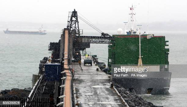 Salt is loaded onto a ship at the Irish Salt Mining Exploration Co site in Kilroot Carrickfergus Co Antrim The company has been mining DeIcing Rock...