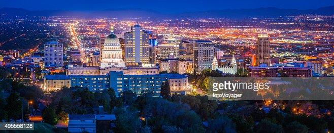 Salt Lake City Downtown Landmarks Illuminated Dusk