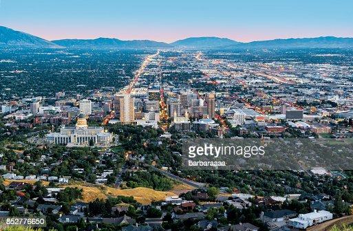 Salt Lake City downtown landmarks illuminated dusk panorama Utah USA aerial view : Stock Photo