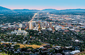 Salt Lake City downtown landmarks illuminated dusk panorama Utah USA aerial view