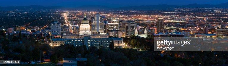 Salt Lake City panorama illuminated at night Utah