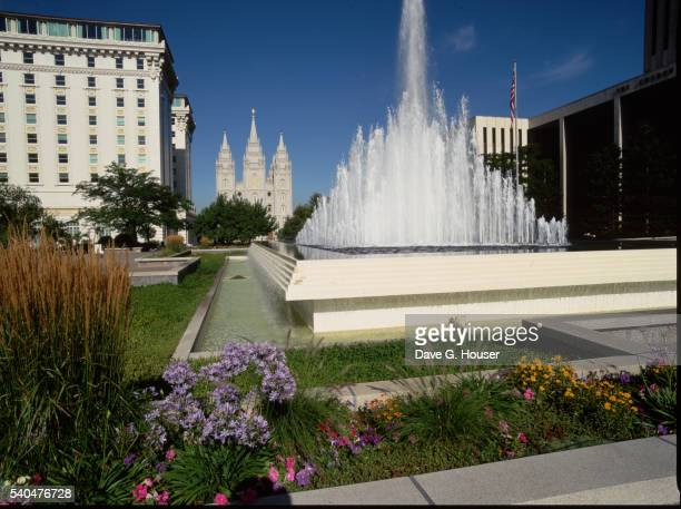 Salt Lake Mormon Temple and Downtown Fountain