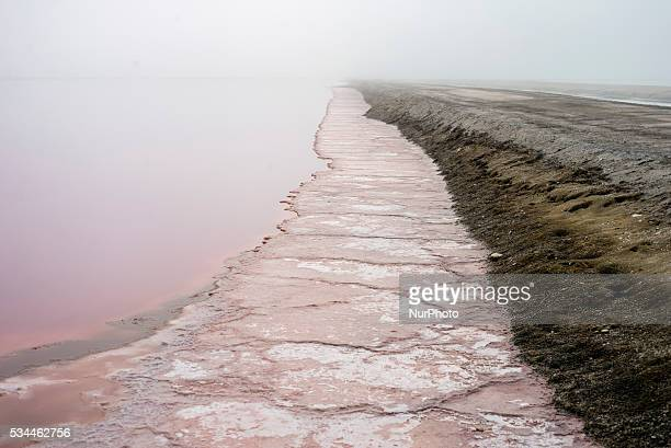 Salt lakes on an area of a salt factory near Swakopmund Namibia on Wednesday May 25 2016 Salt is crystallized in salt lakes by the solar evaporation...