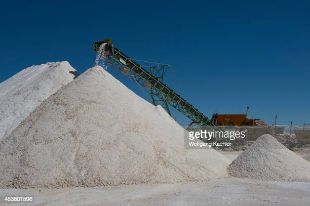 Salt mining at Salinas Grandes a salt pan in the Andes Mountains is situated on an altitude of 3450 meters on the border of the provinces of Salta...