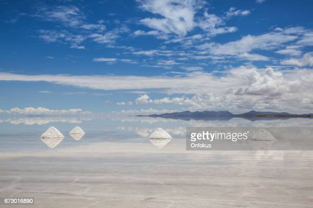 Salt Piles in Salar de Uyuni, Potosi, Bolivia, South America