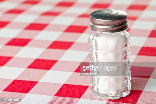 Salt Shaker on a Red Checkered Tablecloth