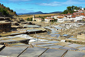 Active Salt valley of Anana in Alava with the village at background, Spain