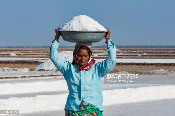 Salt worker, mid adult woman, on the Little Rann of Kutch, salt pans near Dhrangaghra, Gujarat, India.