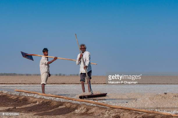 Salt workers on the Little Rann of Kutch, salt pans near Dhrangaghra. India is world's 3rd largest producer of salt, 80% from Gujarat.