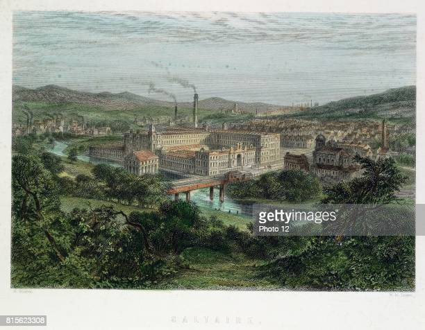 Saltaire model textile factory and town near Bradford Yorkshire England Founded by Titus Salt in 1851 Shops library etc provided for workers but no...