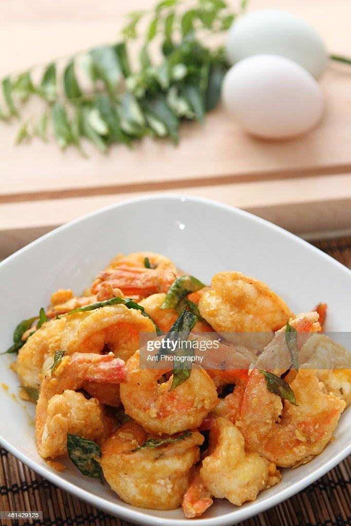 Salted egg yolk prawn : Stock Photo