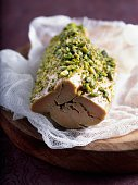 salted foie gras covered with crushed pistachios