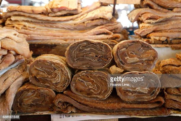 Salted Pirarucu Rolls for sale at Ver-o-Peso Market