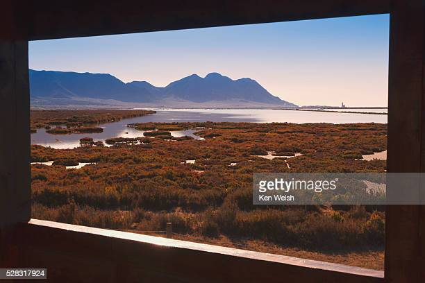 Saltflats of the cabo de gata natural park seen from the public birdwatching hide; almeria province spain