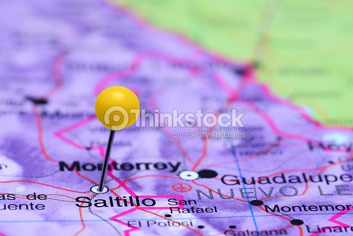 Saltillo Pinned On A Map Of Mexico Stock Photo Thinkstock