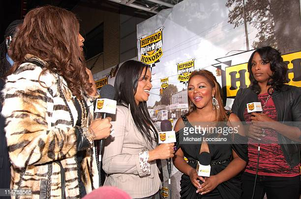 SaltNPepa and Lil Kim during 2006 VH1 Hip Hop Honors Red Carpet at Hammerstein Ballroom in New York City New York United States