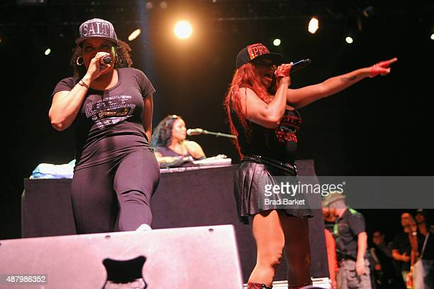SaltNPepa perform at 90sFEST Pop Culture and Music Festival on September 12 2015 in Brooklyn New York