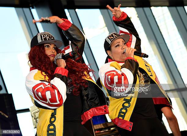 SaltNPepa perform onstage at the Tailgate Party during the IEBA 2015 Conference Day 1 on October 11 2015 in Nashville Tennessee