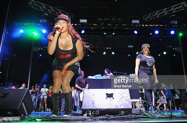 SaltNPepa performs at 90sFEST Pop Culture and Music Festival on September 12 2015 in Brooklyn New York