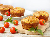 salty snack cakes muffins with cheese, tomatoes and basil