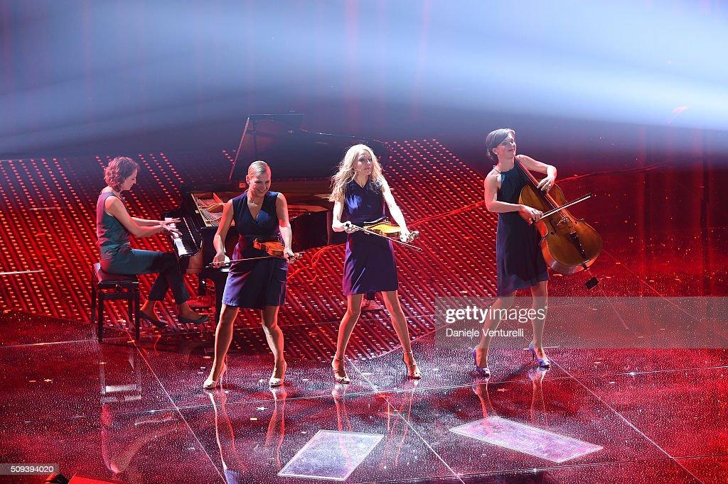 Salut Salon attend second night of the 66th Festival di Sanremo 2016 at Teatro Ariston on February 10, 2016 in Sanremo, Italy.