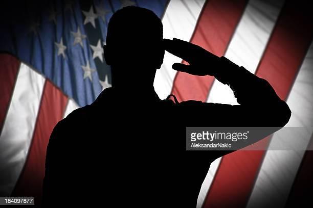 Saluting to USA flag