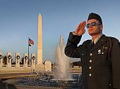 Saluting US Soldier at Washington DC World War II Memorial