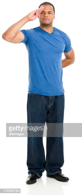 Saluting Young Man Standing