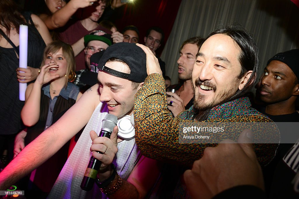 Salva and <a gi-track='captionPersonalityLinkClicked' href=/galleries/search?phrase=Steve+Aoki&family=editorial&specificpeople=732001 ng-click='$event.stopPropagation()'>Steve Aoki</a> at the Dim Mak Grammy Afterparty for <a gi-track='captionPersonalityLinkClicked' href=/galleries/search?phrase=Steve+Aoki&family=editorial&specificpeople=732001 ng-click='$event.stopPropagation()'>Steve Aoki</a> at Drai's Hollywood on February 10, 2013 in Hollywood, California.