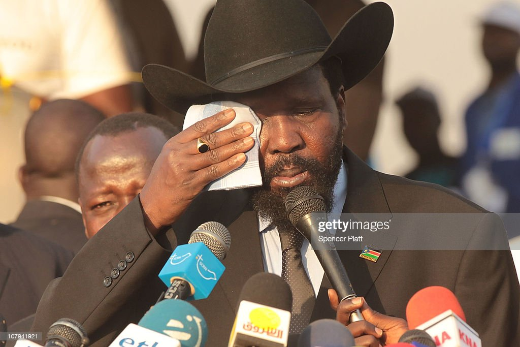 <a gi-track='captionPersonalityLinkClicked' href=/galleries/search?phrase=Salva+Kiir+Mayardit&family=editorial&specificpeople=2629283 ng-click='$event.stopPropagation()'>Salva Kiir Mayardit</a>, acting President of the Government of Southern Sudan, speaks to the media after voting during the first day of voting for the independence referendum in the southern Sudanese city of Juba January 9, 2011 in Juba, Sudan. South Sudan is participating in an independence referendum following a historic 2005 peace treaty that brought to an end decades of civil war between the Arab north and predominantly Christian and animist south. The south is expected to vote around 99 percent to secede from the north which will also give it a majority of Sudan's oil. The result is expected to split Africa's largest country in two. Over two million people were killed in the north-south civil war which began in the 1950s.