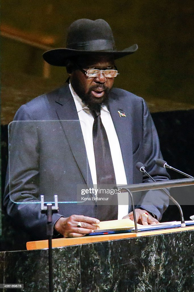 Salva Kiir President of the Republic of South Sudan speaks at the 69th United Nations General Assembly on September 27, 2014 in New York City. The annual event brings political leaders from around the globe together to report on issues meet and look for solutions.