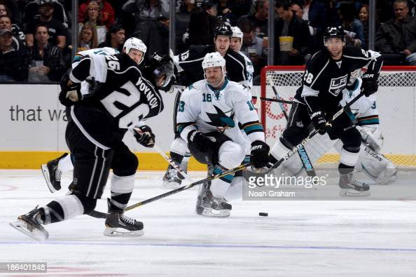 Salva Voynov of the Los Angeles Kings shoots the puck which resulted in a deflected goal by Jarret Stoll of the Kings against the San Jose Sharks at...