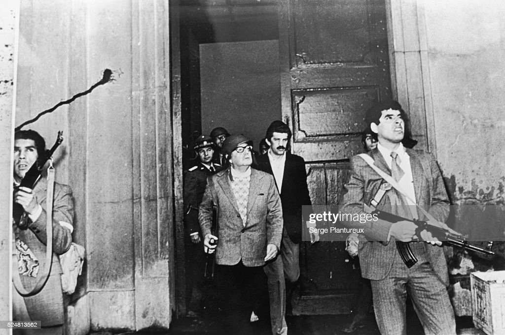 <a gi-track='captionPersonalityLinkClicked' href=/galleries/search?phrase=Salvador+Allende&family=editorial&specificpeople=220786 ng-click='$event.stopPropagation()'>Salvador Allende</a> photographed the day of the coup which overthrew him.