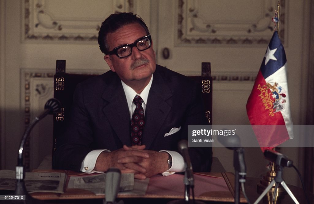 <a gi-track='captionPersonalityLinkClicked' href=/galleries/search?phrase=Salvador+Allende&family=editorial&specificpeople=220786 ng-click='$event.stopPropagation()'>Salvador Allende</a> posing for a portrait on June 10, 1971 in Santiago, Chile.