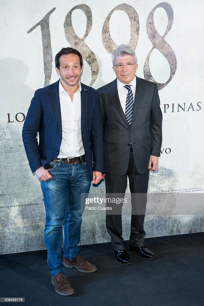 Salvador Calvo and Enrique Cerezo attend the '1898 Los Ultimos De Filipinas' photocall at the Room Mate Hotel on May 05, 2016 in Madrid, Spain.