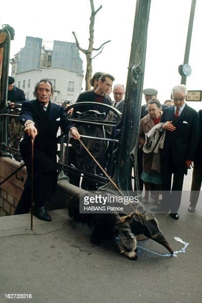 From Barcelona To Paris Paris Juillet 1969 Féru de 'happenings' Salvador DALI est descendu dans le métro avec un tamanoir animal symbole du...