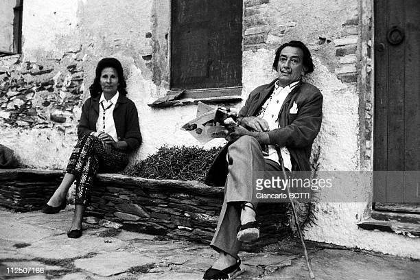 Salvador Dali with Gala at home during the 1960's in Cadaques Spain
