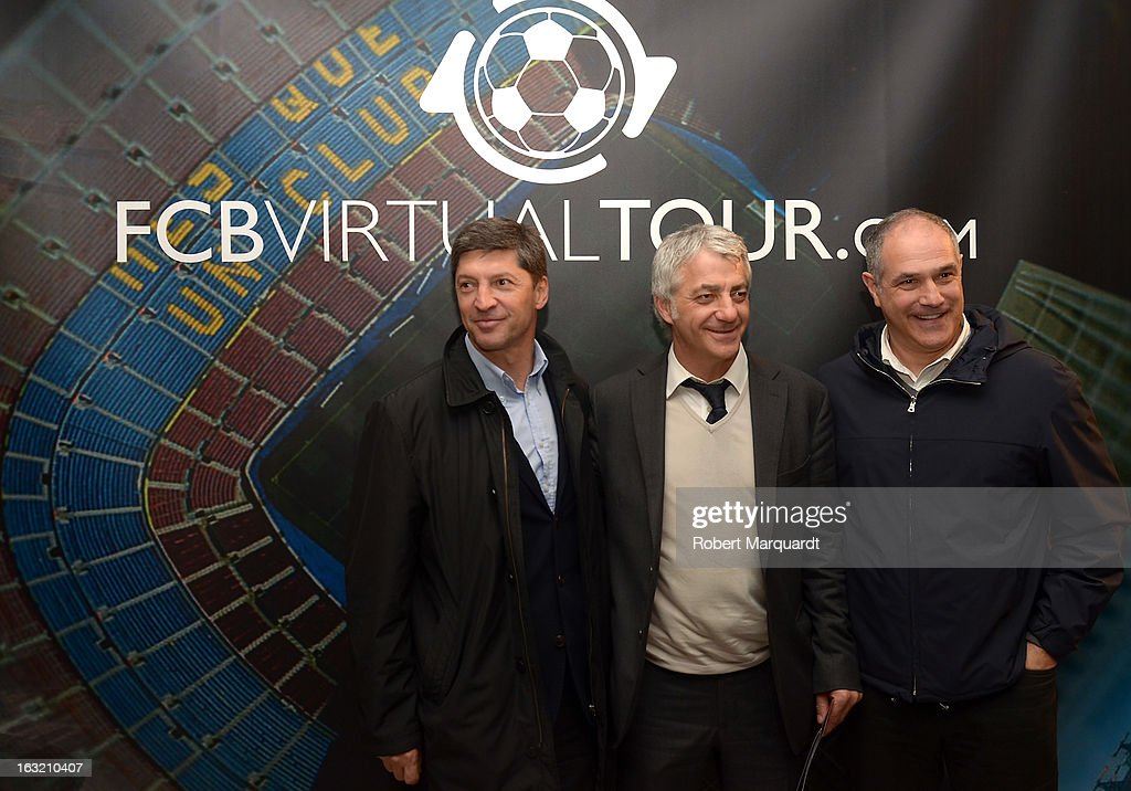 Salvador Garcia (C) attends the press presentation of the 'FCBVirtualTour' at Camp Nou on March 6, 2013 in Barcelona, Spain. The online virtual tour will allow users to view and interact with digital content of the Barcelona Football Club facilities.