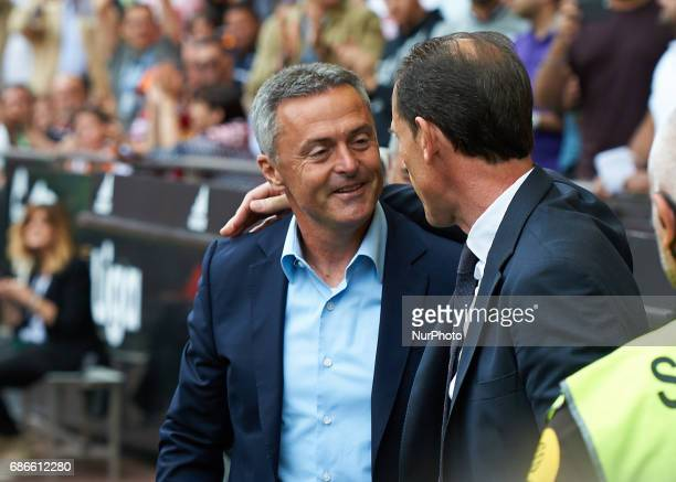 Salvador Gonzalez Voro head coach of Valencia CF and Fran Escriba head coach of Villarreal CF during their La Liga match between Valencia CF and...