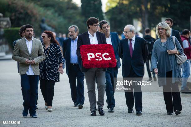 PSC Salvador Illa and Jose Montilla during the Conmemoration of the 77 years since the execution of the independence President of Catalonia Lluis...