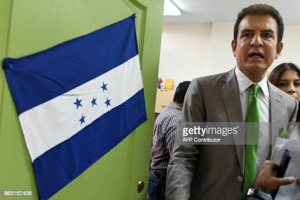 Salvador Nasralla Honduran opposition presidential candidate for the 'Opposition Alliance against Dictatorship leaves the Supreme Electoral Tribunal...