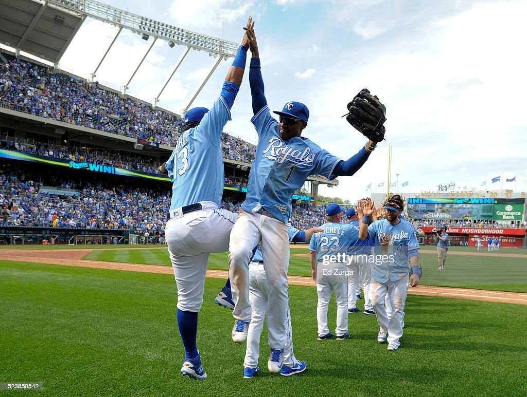 Salvador Perez #13 and <a gi-track='captionPersonalityLinkClicked' href=/galleries/search?phrase=Jarrod+Dyson&family=editorial&specificpeople=6780110 ng-click='$event.stopPropagation()'>Jarrod Dyson</a> #1 of the Kansas City Royals celebrate a 6-1 win over the Baltimore Orioles at Kauffman Stadium on April 24, 2016 in Kansas City, Missouri.