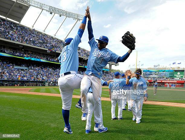 Salvador Perez and Jarrod Dyson of the Kansas City Royals celebrate a 61 win over the Baltimore Orioles at Kauffman Stadium on April 24 2016 in...