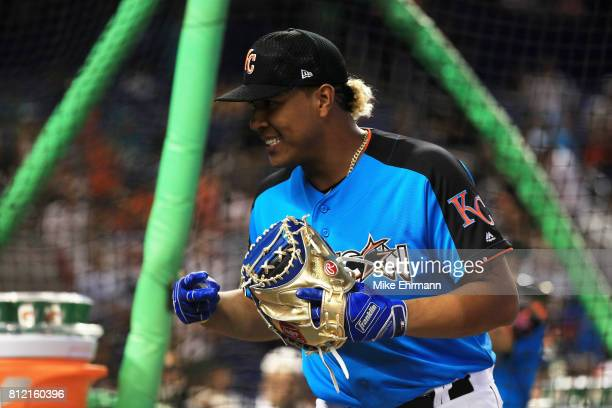 Salvador Perez of the Kansas City Royals and the American League takes part in Gatorade AllStar Workout Day ahead of the 88th MLB AllStar Game at...