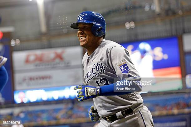 Salvador Perez of the Kansas City Royals celebrates after hitting a tworun home run off of pitcher Xavier Cedeno of the Tampa Bay Rays during the...