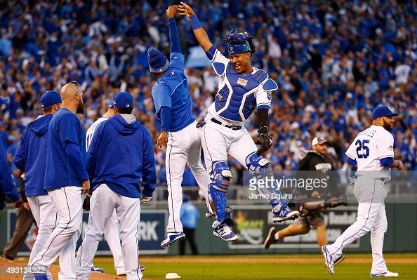 Salvador Perez of the Kansas City Royals celebrates defeating the Toronto Blue Jays 63 in game two of the American League Championship Series at...