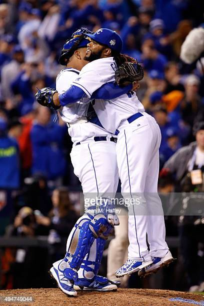 Salvador Perez of the Kansas City Royals celebrates with Johnny Cueto of the Kansas City Royals after defeating the New York Mets 71 in Game Two of...