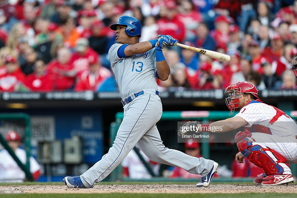 Salvador Perez #13 of the Kansas City Royals gets a base hit in the seventh inning of the Opening Day game against the Philadelphia Phillies at Citizens Bank Park on April 5, 2013 in Philadelphia, Pennsylvania. The Royals won 13 to 4.