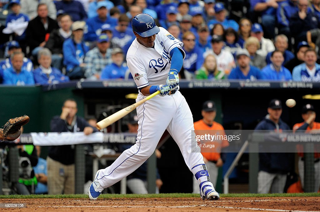 Salvador Perez #13 of the Kansas City Royals hits a solo home run in the second inning against Scott Kazmir #26 of the Houston Astros during game two of the American League Division Series at Kauffman Stadium on October 9, 2015 in Kansas City, Missouri.