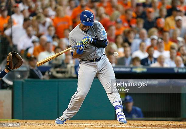 Salvador Perez of the Kansas City Royals is hit by a pitch in the seventh inning against the Houston Astros during game four of the American League...